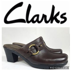 Clark's Clogs Mules Bendable Brown Leather New